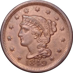 1849 1c Braided Hair Large Cent - Beautiful Strike, Details And Color