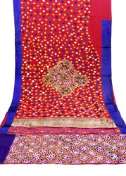 6.7 Yard Indian Embroidered Vintage Fabric Dressmaking Sewing Craft Fabric Saree