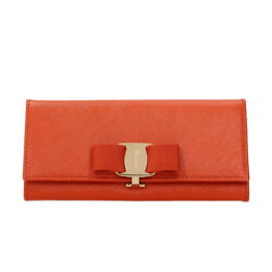 SALVATORE FERRAGAMO Women's Orange Leather Large Bow Wallet Clutch Made in Italy