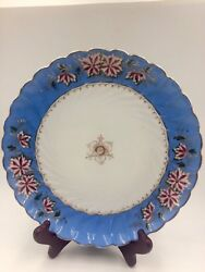 Antique Carlsbad Marx And Gutherz Porcelain Plate Hand Painted 2127 Gold Trim
