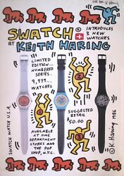 1986 Keith Haring Swatch Watch Usa Promotion Poster   Signed