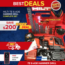 Hilti Te 6-a36 Hammer Drill, New, W/ Dust Removal, Free Laser, Extras, Fast Ship