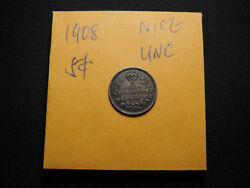 1908 5 Cent Coin Canada Edward Vii Five Cents Bow Large 8 L8 .925 Silver Unc