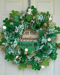 Clearance Salelet The Shenanigans Begin Xl St Patrick's Day Front Door Wreath