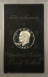 1973-s Proof 40 Silver Eisenhower Ike Dollar Coin With Original Us Mint Box
