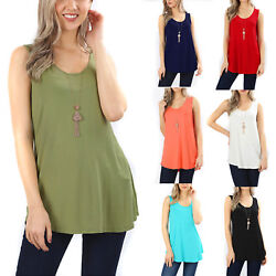 Sleeveless Flowy Tank Top Soft Knit Tunic Women Scoop Neck Loose Fit Blouse Long $11.90