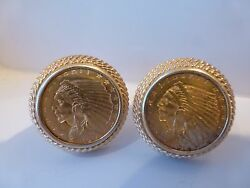 Vintage Antique 1914 Liberty Indian Head 2.50 Gold Coin Cufflinks Eagle 14k 22g