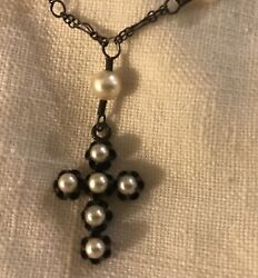 Devon Page Mccleary Pearls And Black Crystal Stones Necklace