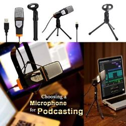 One Professional Microphone For Computer PC Laptop Usb With Desk Stand and Cable