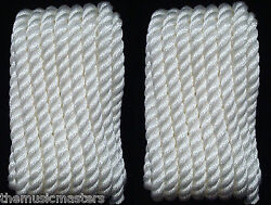 2 White Twisted 3 Strand 1/2 X 25and039 Ft Hq Boat Marine Dock Lines Mooring Ropes