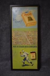 Old Gold Cigarettes Baseball Poster With Metal Tin Not A Cough In A Carload
