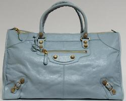New Balenciaga Giant 12 Arena Work Gold Blue Dragee City Satchel Bag