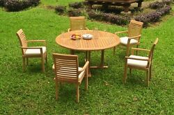 A-grade Teak 6pc Dining 60 Round Table 5 Mas Stacking Arm Chair Set Outdoor