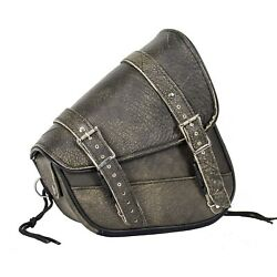 RIGHT SIDED BROWN LEATHER SOLO SWING ARM MOTORCYCLE BAG FOR HARLEY DDC52 $69.84