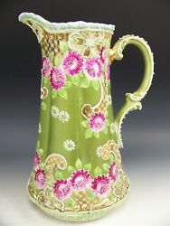 Book Feature Nippon Handpainted Roses Moriage Green And Gold 11.5 Tankard Pitcher