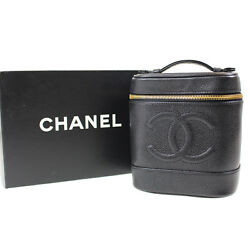 CHANEL CC Vanity Cosmetic Bag Caviar Skin Black Leather Vintage Auth #E837 W