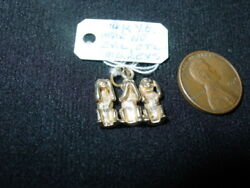 14k Yellow Gold 3 Dimensional 3 Monkeys Charm Hear, Speak And See No Evil