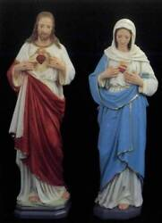 Sacred Heart Jesus Immaculate Heart Mary 24 inch Statue Plaster USA Set of 2
