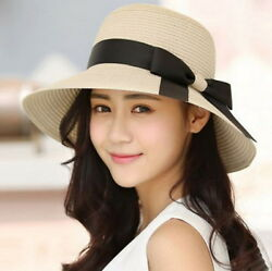 Women Floppy Sun Beach Straw Hats Wide Brim Packable Summer Cap $9.99