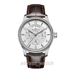 43mm Parnis Day Month Sapphire 24 Jewels Miyota Automatic Menandlsquos Mechanical Watch
