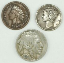 Mercury Silver Dime Buffalo Nickel Indian Head Cent Coin Lot - Free Wheat Penny