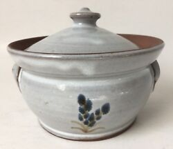 Jugtown Ware Covered Dish Bowl Glazed Pottery 2 Handles 1984