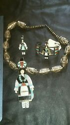 Antique Zuni Turquoise And Silver Necklace, Bracelet And Ring Set