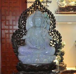Huge Natural Emerald Jade Jadeite Carving Lotus Kwan-Yin GuanYin Goddess Statue