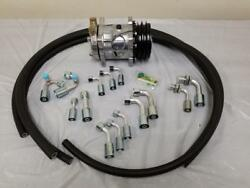 Universal 134a Air Conditioning Fittings & AC Hose Kit + Compressor NO DRIER