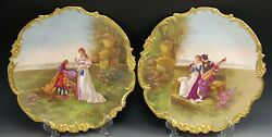 Pair 2 Limoges France Hand Painted Courting Scenes 13.5 Chargers Wall-plaques