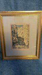 Vintage Isreali Artist Eisenscher Drawing Of Mountain In Gold Colored Frame