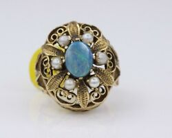 Estate Antique Pearls And Opal Ring 14k Yellow Gold