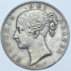 Scarce 1847 Crown British Silver Coin From Victoria Gvf+