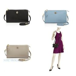 New Tory Burch Brody Pebbled Wallet Crossbody Clutch