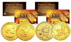 Sacagawea And Susan B Anthony 24k Gold Plated U.s. Dollar History Women 2-coin Set