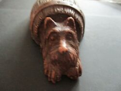 Antique estate scottie dog coming out of a barrel pencil holder scottish terrier