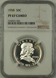 1958 Us Franklin Silver Half Dollar 50c Coin Ngc Pf-67 Cameo, Better Coin