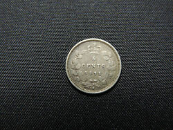 1875 H 5 Cent Coin Canada Victoria Large Date .925 Silver Choice Ef Grade