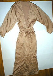New Womens Designer Michael Kors Collection Italy Dress Long 4 Tan Beige Silky