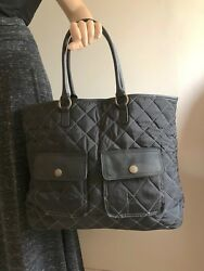 Black Quilted Nylon Old Navy Tote Bag  Beach Bag  Catch-All