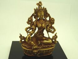 Tibetan Green Tara Gold Gilded Copper Buddhist Meditation Statue 3.5 Inches $38.00