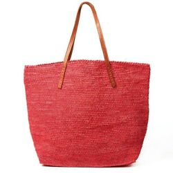 $139 MAR Y SOL Portland Tote in Coral Straw + Leather Handle Beach Tote Bag NWT