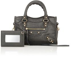 Balenciaga Grey Classic City nano textured-leather (lamb) shoulder bag $795