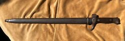 """Vintage French Berthier Bayonet 20"""" Knife With Matching Scabbard W/ Symbols"""
