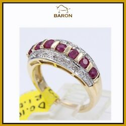Estate Vintage Ruby Ring 10k Yellow Gold Size 7 Ruby Band Md