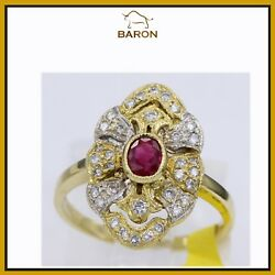 Estate Vintage Ruby Ring 18k Yellow Gold Size 6.5 Ruby Cocktail Ring Md