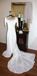 Vintage Satin Wedding Gown Super Long Cathedral Train 1940s