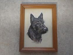 RARE Vintage Scottie Dog Raised Signed Art Picture Scotish Terrier Framed 7