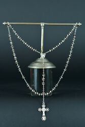 Art Nouveau Fine French Rosary Sterling Silver Light Purple Glass All Caped