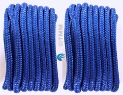 2 Blue Double Braided 1/2 X 20' Hq Boat Marine Dock Lines Mooring Rope Cord